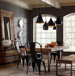 L39amenagement d39une salle a manger style industriel en 48 for Idee deco cuisine avec chaise salle a manger en cuir