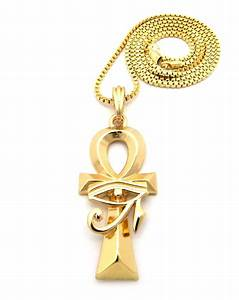 "Gold Egyptian Horus Eye Ankh Cross Pendant Charm 24"" Chain ..."