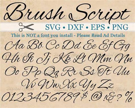 brush script calligraphy font monogram svg dxf eps png etsy