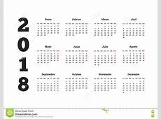 Año Simple Del Calendario 2018 En Lengua Española