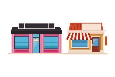 store shop front window buildings icon set flat isolated vector illustration  vector