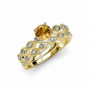 citrine diamond marquise shape engagement ring wedding With citrine wedding ring set