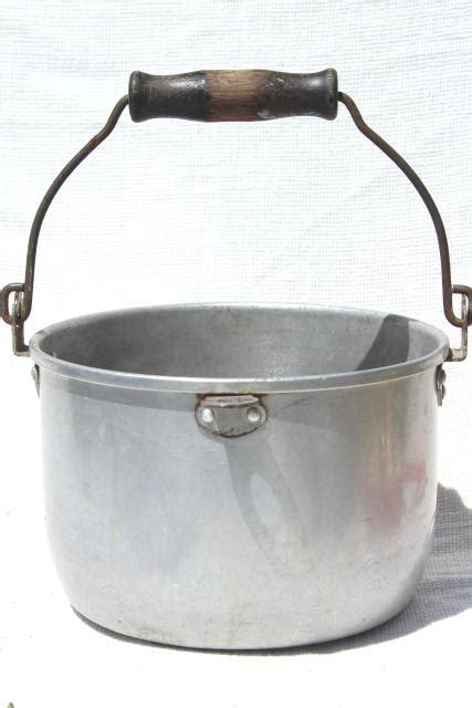 vintage aluminum kettle primitive camp fire cooking pot  wire bail wood handle
