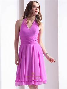 Hot Pink Chiffon Halter Knee Length Bridesmaid Gown With ...