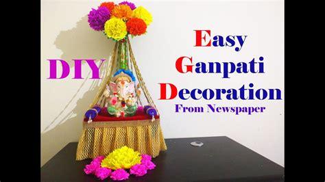 easy ganesh decoration ideas  home diy youtube