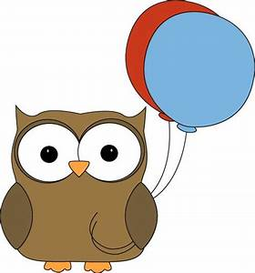 Brown Owl with Balloons Clip Art - Brown Owl with Balloons ...