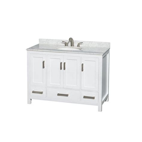 wyndham collection sheffield 48 in vanity in white with