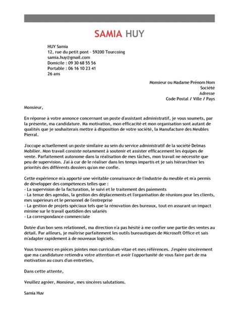 lettre de motivation assistant administratif exemple lettre de motivation assistant