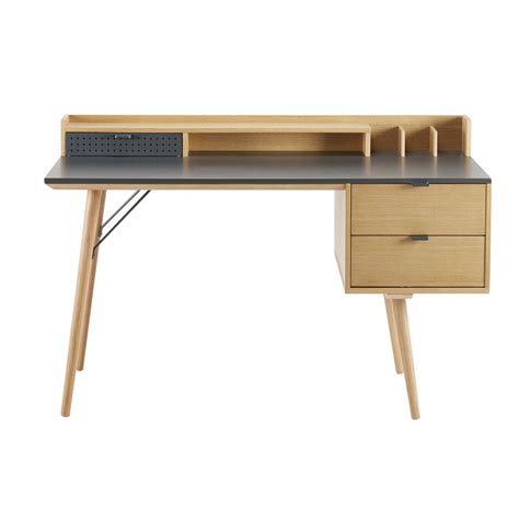 meuble bureau tiroir bureau 3 tiroirs bronx maisons du monde