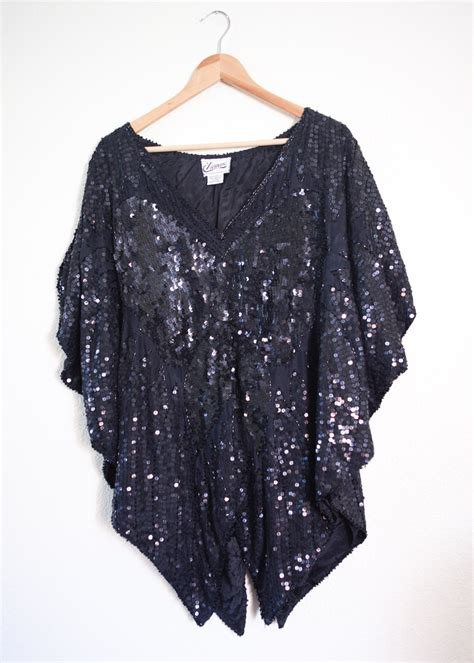 beaded blouse plus size vintage black sequin batwing beaded blouse 3x 4x