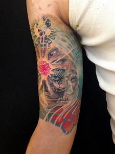 psychedelic sleeve in progress by Dennis Wehler: TattooNOW