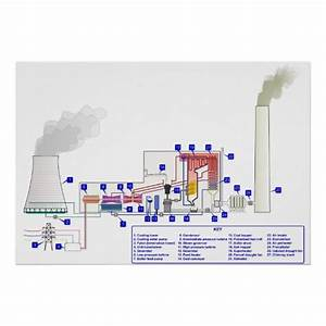 Diagram Of A Coal Fired Thermal Power Station Poster