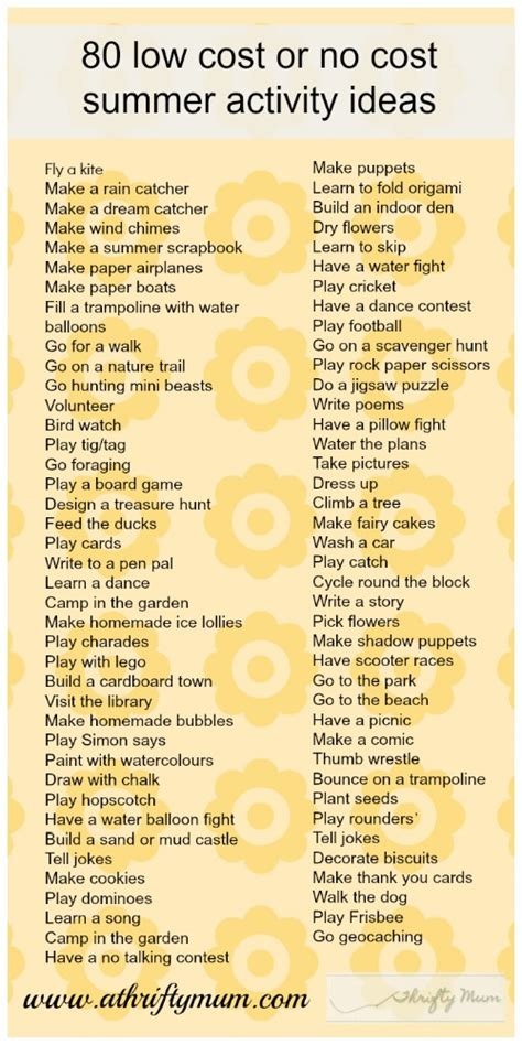 cost   cost summer activity ideas pictures