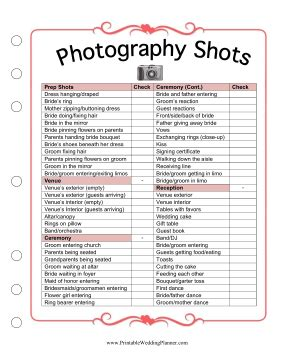 free printable wedding planner photography