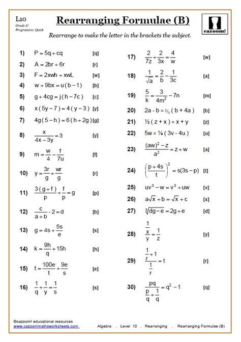 Rearranging Equations Worksheets  Cazoom Maths Worksheets
