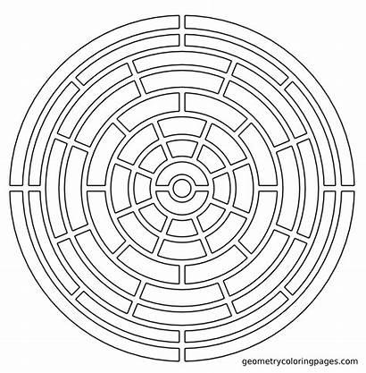 Coloring Pages Mandala Geometric Geometry Maze Fractal