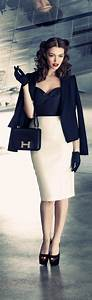 Nude and navy in a look reminding of forties pencil skirt bustier short blazer pumps and ...