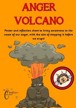 anger volcano emotional regulation poster worksheet