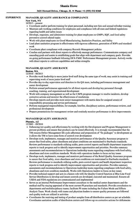manager quality assurance resume sles velvet
