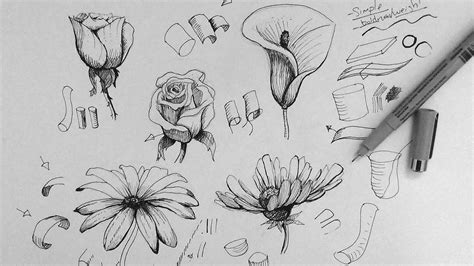 ink drawing tutorial   draw flowers part