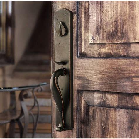 loc rustic bronze entry handleset   rustic