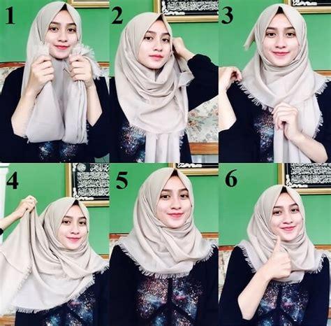 model hijab segi empat simple modern terbaru
