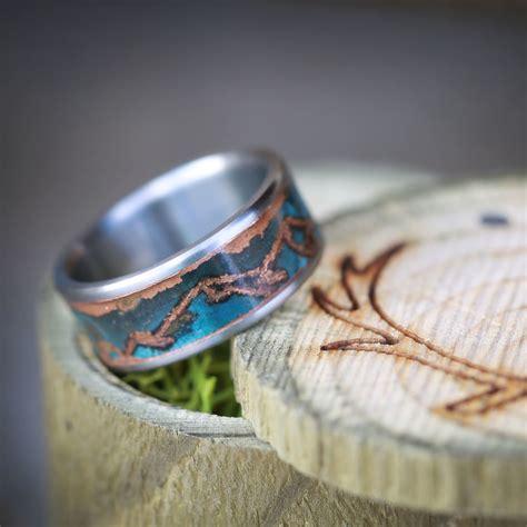patina copper wedding ring  custom mountain engraving