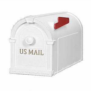 Postal pro hampton post mount mailbox white with gold for White mailbox letters