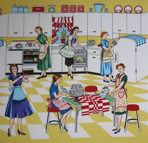 home ec retro fabric by michael miller 50 s kitchen