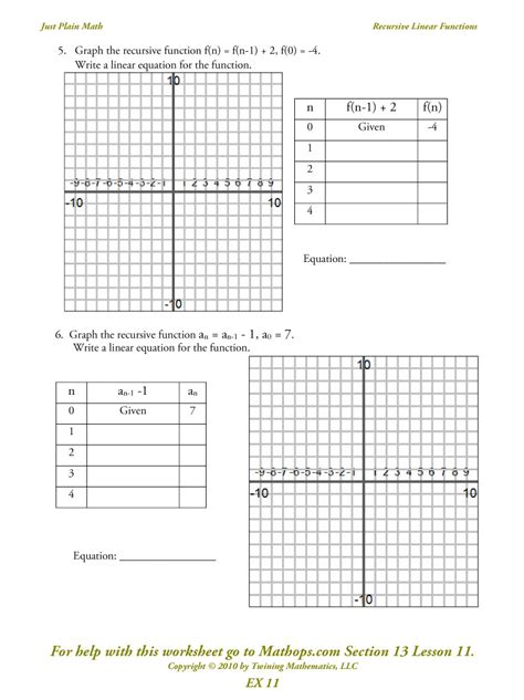 Math Worksheets Linear Functions  Tabtor Math Ccss Curriculum United States Grade 8 Graphing