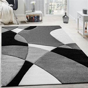 designer rug modern geometric design contour cut in black With tapis 160 x 230
