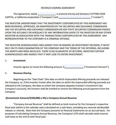 Revenue Contract Template 14 profit agreement templates pdf doc sle