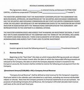 Sample profit sharing agreement 10 free documents in for Revenue sharing contract template
