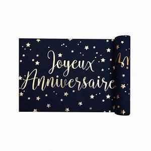 Chemin De Table Anniversaire : chemin de table joyeux anniversaire bleu et or ~ Melissatoandfro.com Idées de Décoration