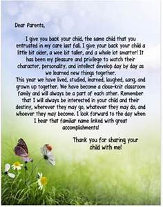 End of the Year Letter to Parents from