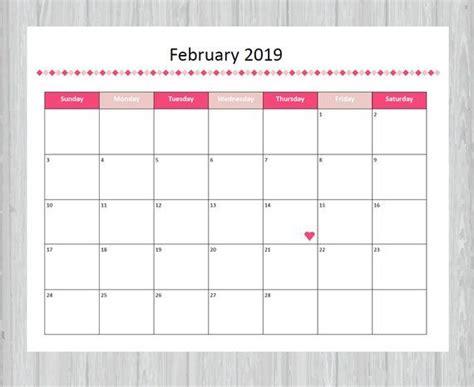 printable february  calendar seasonal monthly