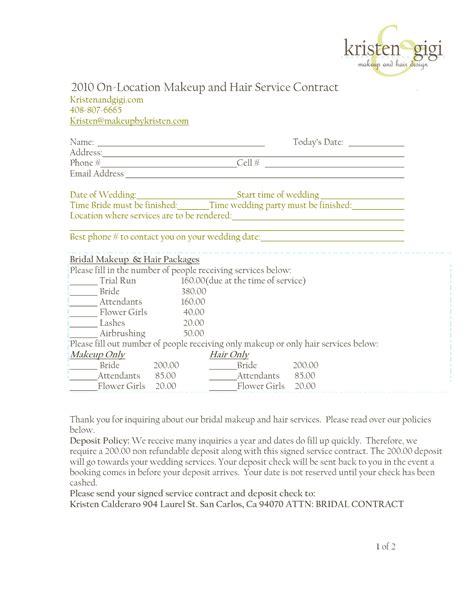makeup artist contract form wedding flower invoice sles joy studio design gallery