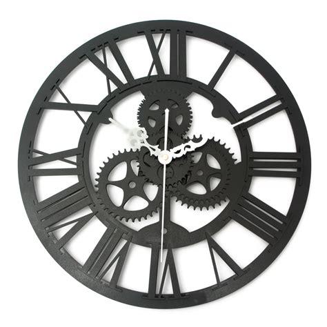 vintage wall clock rustic big gear wooden handmade home bar cafe decor gift 32cm alex nld