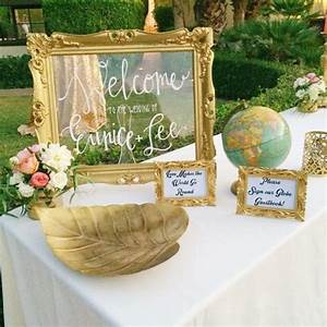 welcome table with globe sign in book for guests perfect With wedding table sign ideas