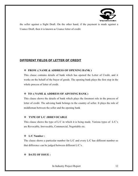 letter of credit draft template project on letter of credit and working capital