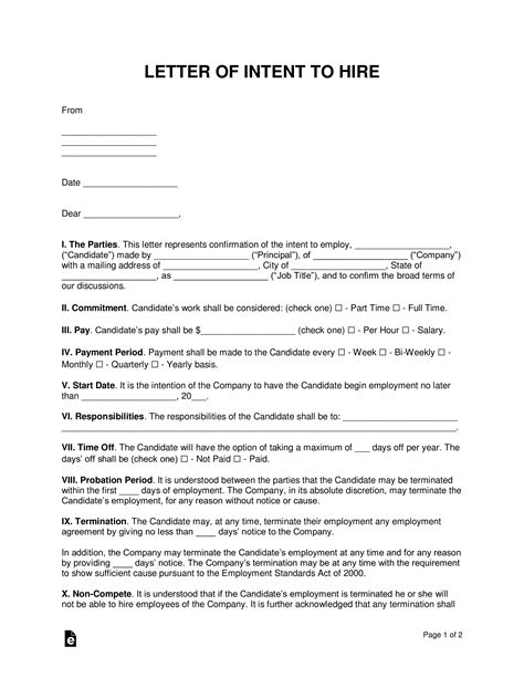 letter  intent  hire template sample