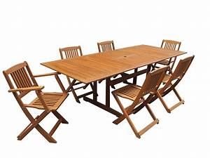 Table Et Chaise De Jardin En Bois : salon de jardin en bois exotique osaka table extensible 180 240 x 100 x h74 cm 2 fauteuils ~ Teatrodelosmanantiales.com Idées de Décoration