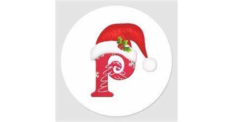 monogram letter p santa hat christmas sticker zazzlecom