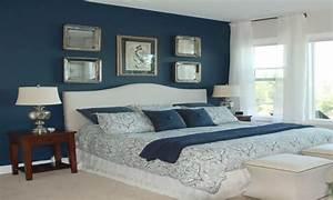 Dark blue modern bedroom, blue master bedroom on bedroom
