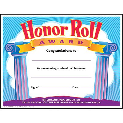 Trend Enterprises Certificate Templates T 11301 by Honor Roll Award Colorful Classics Certificates