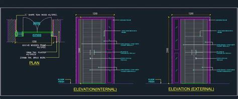 modern flush main door detail autocad dwg plan  design
