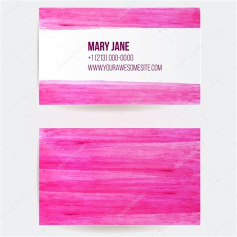 2 Sided Business Cards Templates Free by Two Sided Business Card Template With Pink Paint Strokes
