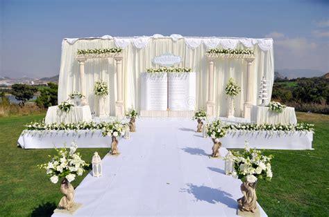 outdoor wedding stage stock photo image  decoration