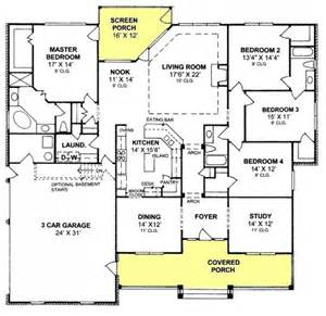 House Plans With And Bathroom 655903 4 Bedroom 3 Bath Country Farmhouse With Split Floor Plan And Screened Porch House