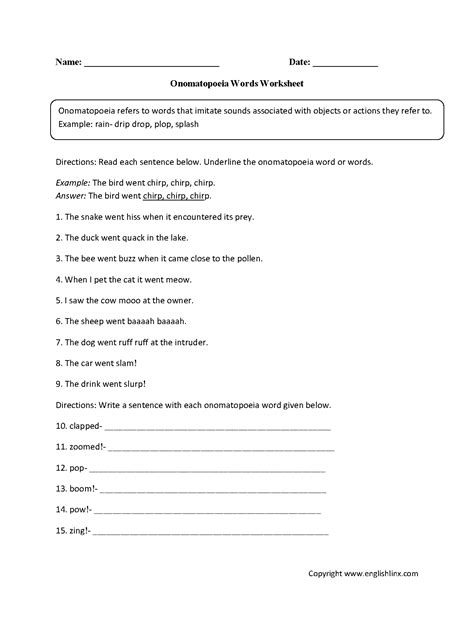 onomatopoeia worksheets high school onomatopoeia best